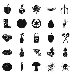 Pleasure ground icons set simple style vector