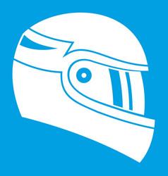 Racing helmet icon white vector