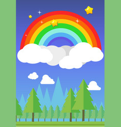 Rainbow on sky and forest background vector