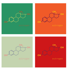 Set of estrogen molecule structure in style vector