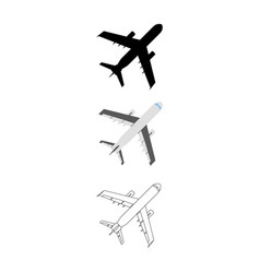 set of flat airplane icon cartoon outline vector image vector image
