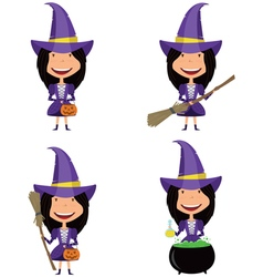 set with girsl in witch costume vector image vector image