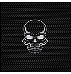 silver skull on metal background vector image vector image
