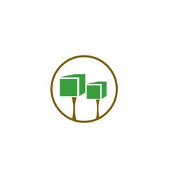 Tree cube logo vector