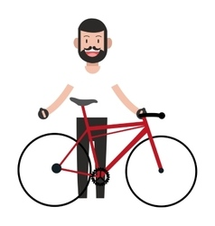 Man with facial hair and bike icon vector