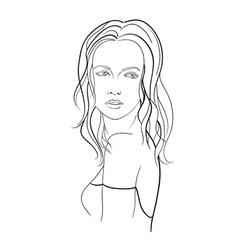 Sketch of a young woman with long hair vector