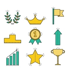 Victory and success set of colored flat icons vector