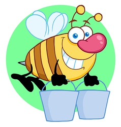 Happy honey bee flying with a buckets vector