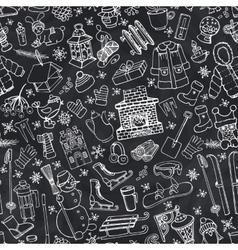 Winter season doodle symbols seamless pattern vector