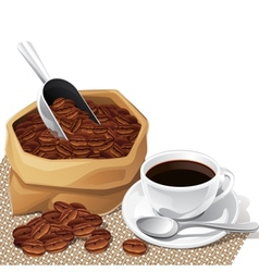 Background with cup and bag of coffee beans vector image