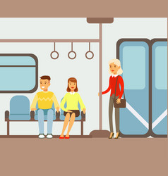 Passengers on their places in metro train car vector