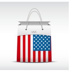 Shopping bag with usa flag vector