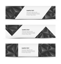 Abstract grey pyramid horizontal banners vector