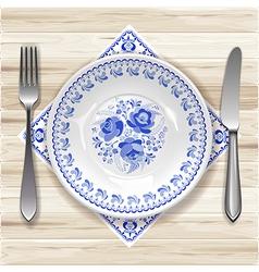 Gzhel Plate vector image