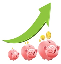 Pig piggy bank interest money vector