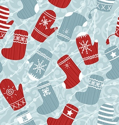 Seamless Christmas background with mittens and vector image