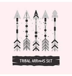Abstract gray tribal arrows set on pink background vector