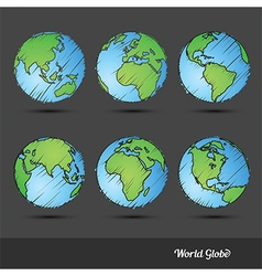 World globe doodle vector