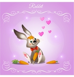 Rabbit boy on a purple background vector image
