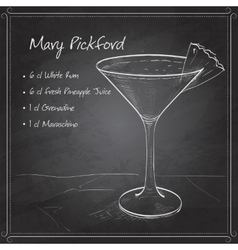 Cocktail mary pickford on black board vector