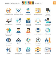 Human resources flat set 01 vector