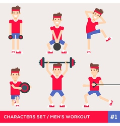 Men workout set1 vector