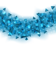 Abstract blue background with pyramids and light vector