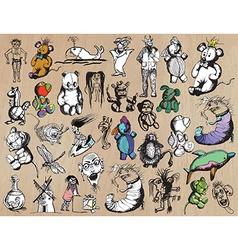 Cute monsters pack - freehand drawings pack vector