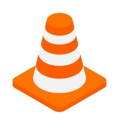 An orange road hazard cone isometric 3d icon vector image