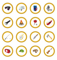 Camping cartoon icon circle vector