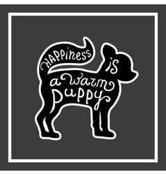 Card with cute puppy on the gray background vector image