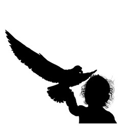 Child fun silhouette with bird in black vector