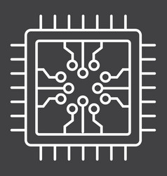 Chip line icon circuit board and cpu vector
