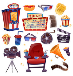 Cinema cartoon set vector
