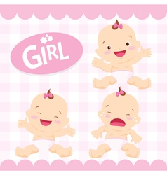 Cute girl sitting in a diaper vector image vector image