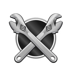 Double wrench cross garage emblem vector