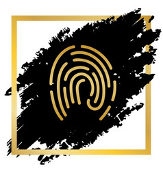 fingerprint sign golden icon vector image