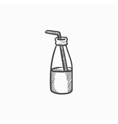 Glass bottle with drinking straw sketch icon vector image vector image