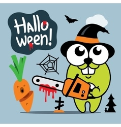 Halloween crazy rabbit in witch hat cartoon vector