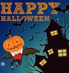 Halloween theme with haunted house vector image vector image