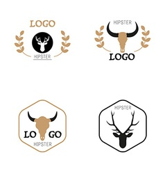 Hipster minimalistic logotype with head of deer vector image vector image