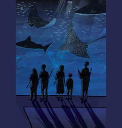 People in oceanarium couples people with vector