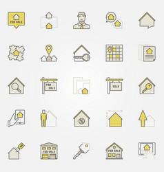 Real estate colorful icons vector