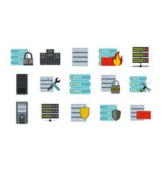 server icon set flat style vector image