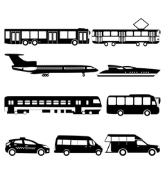 set of black public transport vector image