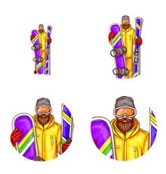 Set of male avatars in pop art style vector