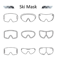 Ski goggles outline set icon vector image vector image