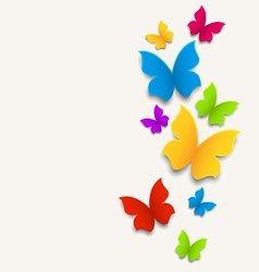 Spring card with butterflies colorful composition vector image vector image