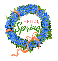 Spring holiday crocus flowers wreath vector
