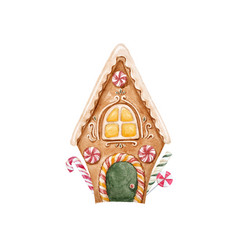 Watercolor gingerbread house vector